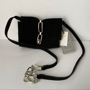ZARA SUEDE SMALL CROSSBODY WITH CHAIN LINK NWT
